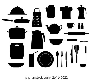 set of items for the kitchen, black silhouettes