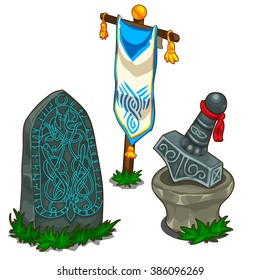 The set of items in Norse mythology. Vector illustration.