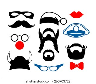 Set of items for party or masquerade. False mustache, funny glasses, mask and helmet. Vector illustration