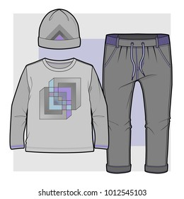 Set of items for a toddler boy (Shirt with abstract geometric print, joggers with elasticised ribbing and hat)