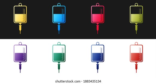 Set IV bag icon isolated on black and white background. Blood bag icon. Donate blood concept. The concept of treatment and therapy, chemotherapy. Vector.