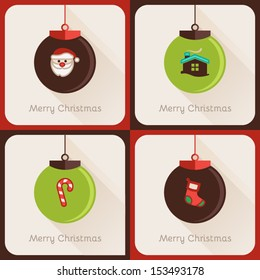 Set IV of four greeting cards about Christmas