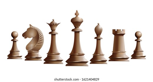 Set of ivory chess pieces. Chess piece icons. Board game. Vector illustration isolated on white background