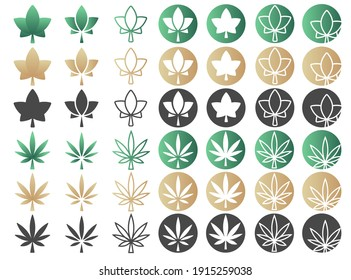 Set of Ivy and cannabis leaves. Sycamore, ivy, hemp leaf icon. Elements for cosmetic or medical product packaging or marijuana beauty products. Leaf logo. Environment concept. Vector illustration