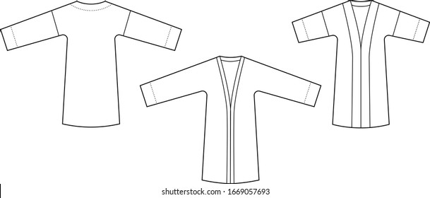 Set of jackets with kimono sleeve. Technical drawing of classic kimono. Set of flat sketches. Editable template. Easy to color