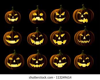Set of Jack-o-lanterns isolated on black