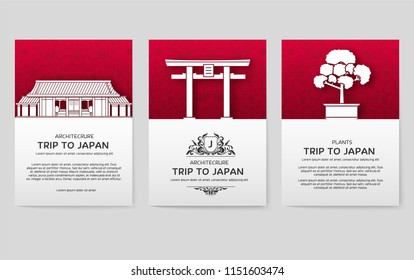 Set of Japan country ornament travel tour concept. Asia traditional, magazine, book, poster, abstract, element. Vector decorative ethnic greeting card or invitation design