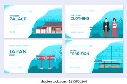Set of Japan country ornament travel tour concept. Traditional Asia brochure card set.  Ethnic template of flyear, web banner, ui header, enter site. Layout invintation modern