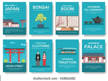 Set of Japan country ornament travel tour concept. Asia traditional, magazine, book, poster, abstract, element. Vector decorative ethnic greeting card or invitation design background