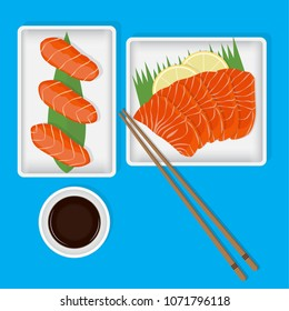 Set of Japan food on top view. Salmon sushi and sashimi