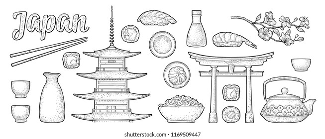 Set Japan. Mountain Fuji, pagoda, torii, sushi, chopsticks, wasabi, roll, soy sauce, cup, bottle, bowl, teapot, sakura cherry branch with flowers. Vintage black vector engraving isolated on beige