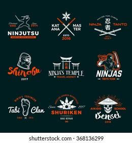 Set of Japan Ninjas Logo. Katana weapon insignia design. Vintage ninja mascot badge. Martial art Team t-shirt illustration concept