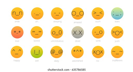 Set of japan style color Emoji Isolated on white. Vector illustration