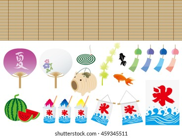 "Set of Japan summer illustrations. A flag and cup with ""ice"" and a fan with ""summer"" in Japanese symbols."