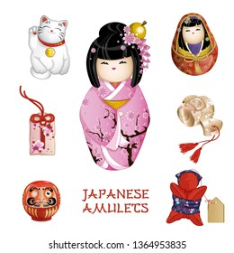 A set of Japanese amulets: kokeshi, happy cat, omamori, daruma, saruboba, hammer daikoku. Japanese traditions, tourist souvenirs. vector illustration.