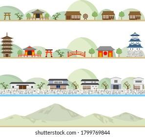 set of Japanese ancient city landscape