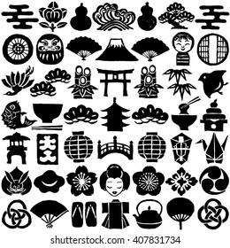 Set of Japanese design icons. hand drawn illustrations.