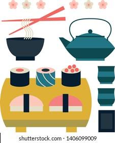 Set of japanese food and beverage flat icon sushi, yakisoba, takoyaki, onigiri, green tea, sake, dorayaki, mochi, rice ball, miso soup, tofu, oden, dango, taiyaki, tempura, ramen, rice bowl, gyoza.