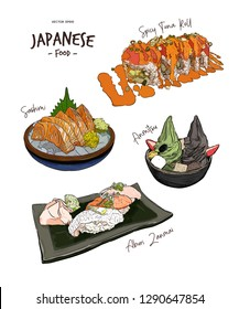Set of Japanese food, Hand draw sketch vector. Spicy tuna roll, Ramen, Salmon Sashimi, Aburi zanmai and Anmitsu soft serve.