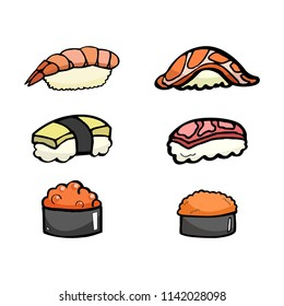 set of japanese food, sushi, shrimp, omelette, fish, fish egg cartoon object, vector doodle art