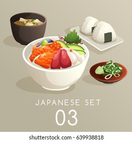 Set of Japanese Food : Vector Illustration