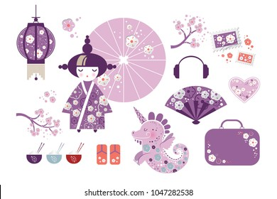 Set of Japanese girl, Kokeshi doll, fan, umbrella, dragon, unicorn, Japanese lanterns, fish, cups with rice and sticks,  tea bowls, cherry blossom, heart in cartoon style. Vector illustration
