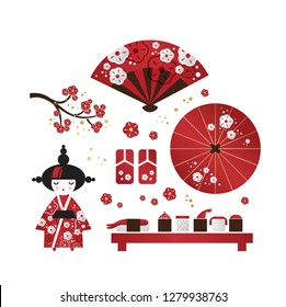 Set of Japanese girl, Kokeshi doll, fan, umbrella, dragon, unicorn, Japanese lanterns, fish, cups with rice and sticks,  tea bowls, cherry blossom in cartoon style. Vector illustration
