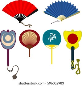 Set of japanese hand fans isolated on white background. Folding and rigid fans. Vector illustration.