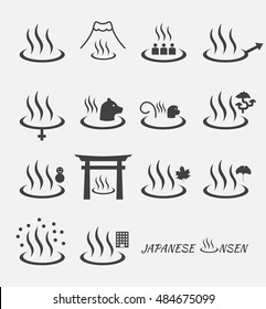 Set of Japanese hot spring marks ( onsen ).