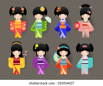 Set of Japanese Kokeshi Dolls.