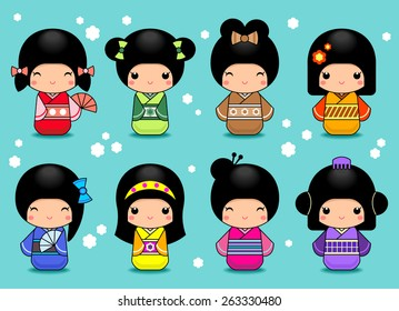 Set of Japanese Kokeshi dolls icons.