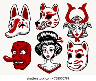 Set of japanese mask, fox, wolf, cat, tengu and girl. Isolated vector art. Print on poster, card, sticker, T-shirt.