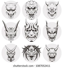 A set of Japanese masks of kabuki. Masks with different emotions. Sinister masks of Japanese demons and monsters