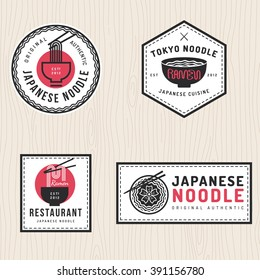 Set of japanese noodles logo, badges, banners, labels, emblem for asian food restaurant. Vector illustration.
