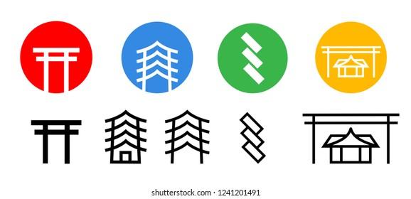 Set of Japanese shrine icon, vector art