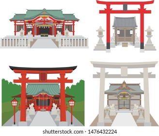 A set of Japanese shrines and Inari shrines