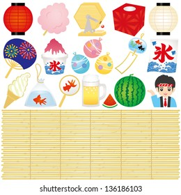 Set of Japanese summer festival illustrations.