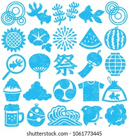 Set of Japanese summer icons. stamp set.