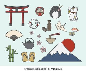 Set of Japanese symbols