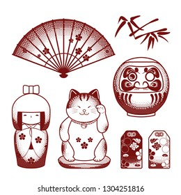 Set of japanese symbols (daruma, kokeshi, maneki neko, omamori, hand fan)