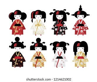 Set of japanese traditional Kokeshi dolls in national costumes kimono in cartoon style. Vector illustration