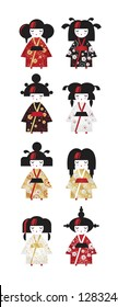 Set of japanese traditional Kokeshi dolls in national costumes kimono in cartoon style. Cute vector illustration in Oriental style for greeting card, invitation, poster, nursery decor, packaging