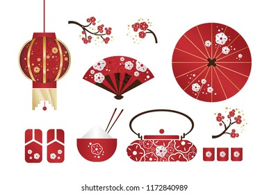 Set of japanese traditional objects icons. Sakura branch, teapot, hand fun, umbrella, bowls, utensils for the tea ceremony, teapot and bowls, branches of cherry blossoms, rice, sandals, lantern