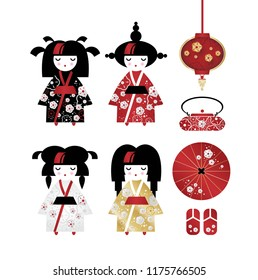 Set of japanese traditional objects icons. Japanese Kokeshi dolls in national costumes kimono and kettle, umbrella, sandals, lantern. Vector illustration