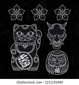 set japanese traditional tattoo, vector EPS 10