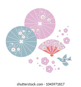 Set Japanese umbrellas, fan, bird, cherry blossom. For the spring season greetings. Vector illustration
