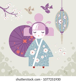 Set of Japanese woman wearing headphones with umbrella in Japanese national clothes kimono on the background of cherry blossoms. Kokeshi doll on flowers background. For spring seasons greetings