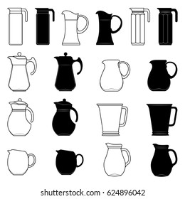 Set of jars of different shapes to water in the form of contours and silhouettes