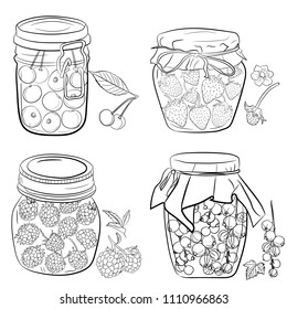 set of jars with fruit, berries, jam, compote. Canned homemade fruit. Hand drawing,  lineart, in sketch style. cherry, currant. strawberries, raspberries