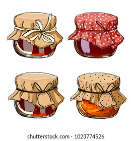 Set jars for jam, empty cans, cover, packaging, a black line on a white background. Vector skech food